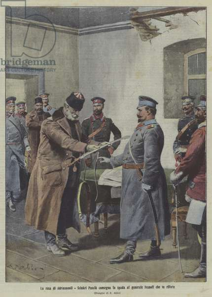 The surrender of Adrianople, First Balkan War (colour litho)