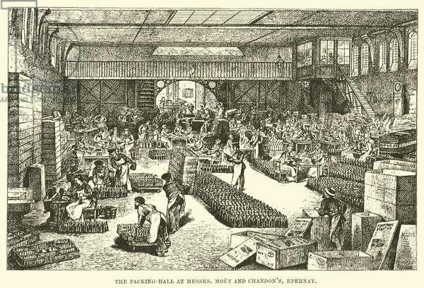 The Packing-Hall at Messrs Moet and Chandon's, Epernay (engraving)
