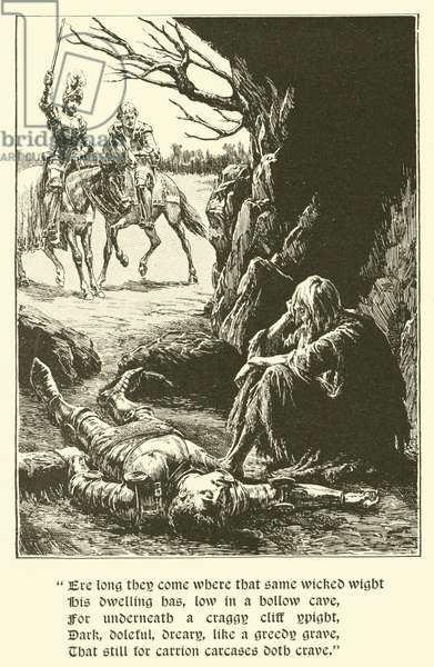 The Red Cross Knight, In The Cave Of Despair (engraving)