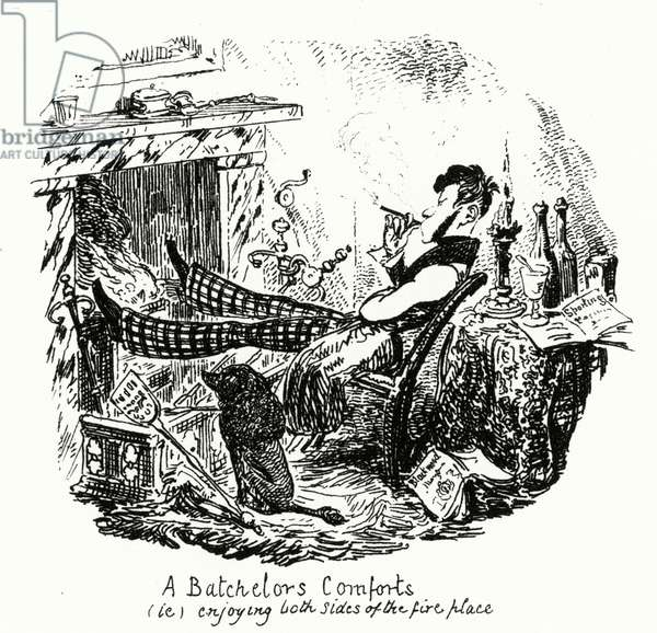 A Batchelor's Comforts (ie) enjoying both sides of the fireplace (engraving)