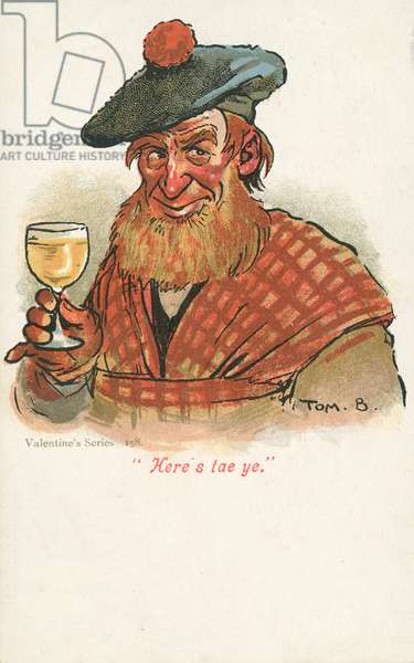 Scotsman raising a glass (colour litho)
