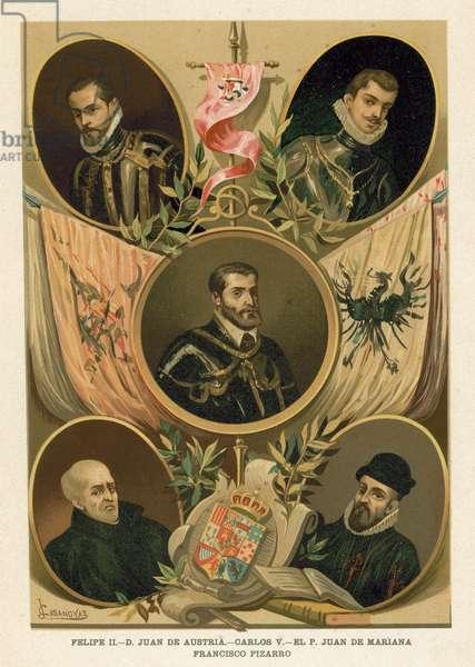 Famous Spanish historical figures of the 16th Century (chromolitho)