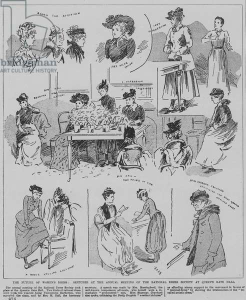 Women attending the annual meeting of the Rational Dress Society, Queen's Gate Hall, London, 1891 (engraving)