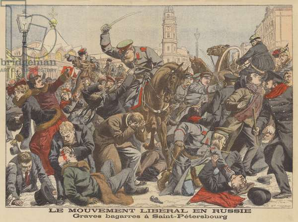 Serious troubles in St Petersburg (colour litho)