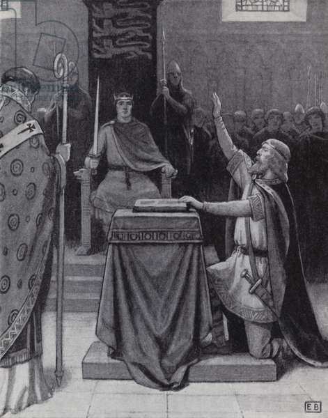 Harold Godwinson swearing an oath on sacred relics to support William, Duke of Normandy's claim to the English throne (litho)