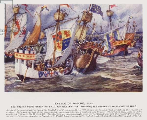 Battle of Damme, 1213 (colour litho)