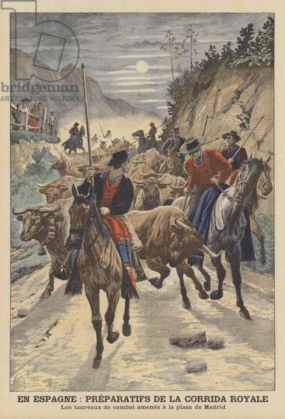 Preparations for the bullfights to celebrate the wedding of King Alfonso XIII of Spain (colour litho)