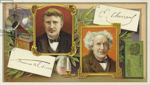 Thomas Edison and Eugene Chevreul (chromolitho)