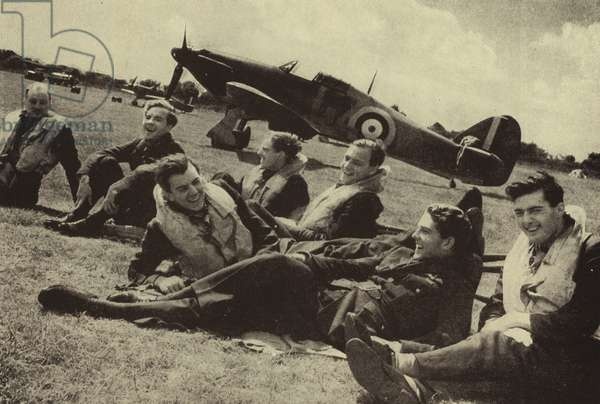 RAF Hurricane fighter pilots, some of 'the Few' who fought in the Battle of Britain, World War II, 1940 (b/w photo)
