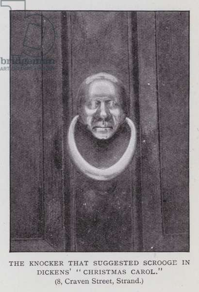 "The knocker that suggested scrooge in Dickens' ""Christmas Carol"" (b/w photo)"