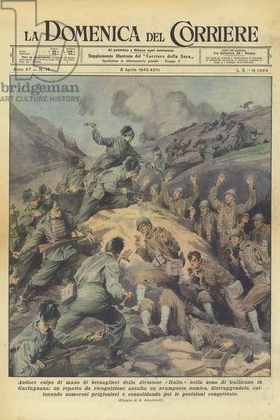 Audace colpo di mano di bersaglieri della divisione Italia nella zona di Gallicano in Garfagnana … (colour litho)