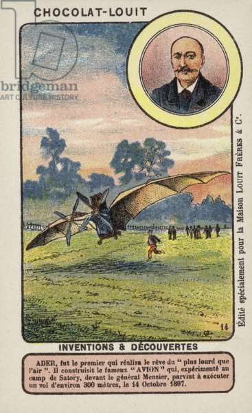 Clement Ader, French engineer and aviation pioneer (chromolitho)