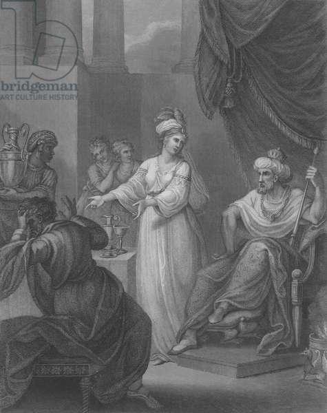 Esther accusing Haman, Esther 7, Verse 1-10 (engraving)