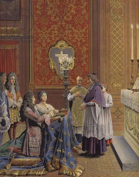 Marriage of King Louis XIV and Madame de Maintenon (colour litho)