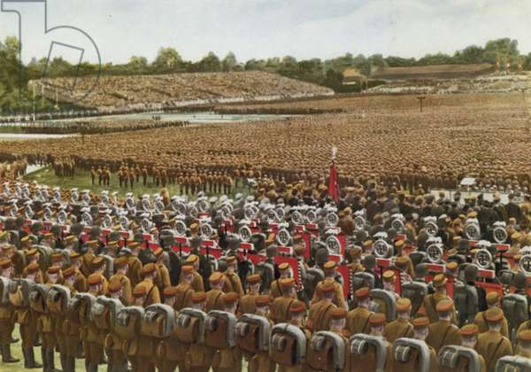 Massed ranks of the SA on the Luitpoldhain at the Nazi Party's Nuremberg Rally, Germany, 1933 (colour photo)