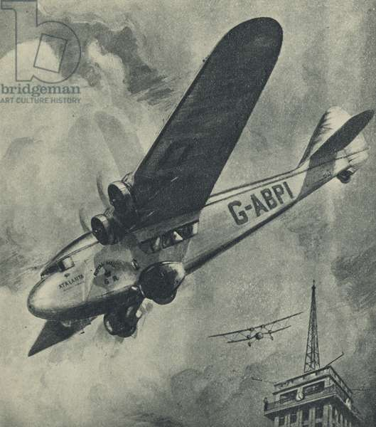 """The """"Atalanta,"""" Imperial Airways, swooping down at Croydon Airport (litho)"""