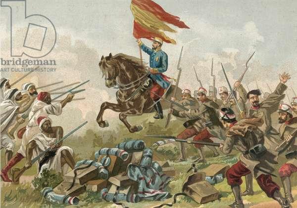 Heroism of General Prim at Castillejos, Morocco, 1859 (chromolitho)