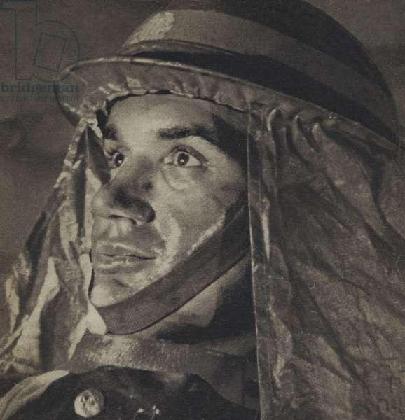 British air raid warden during the Blitz, World War II, 1940-1941 (b/w photo)