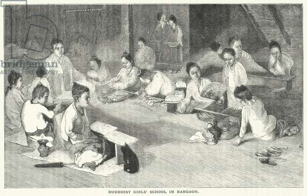 Buddhist Girls' School in Rangoon (engraving)