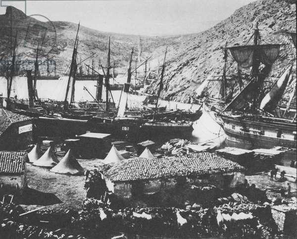 Balaclava Harbour duing Crimean War, 1854-56 (b/w photo)