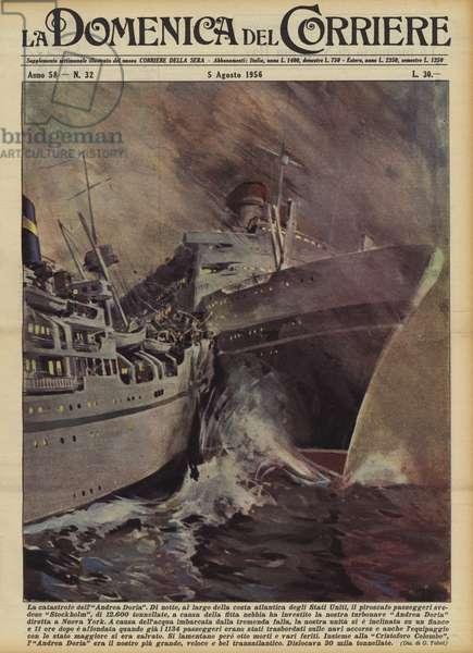 La catastrofe dell'Andrea Doria (colour litho)