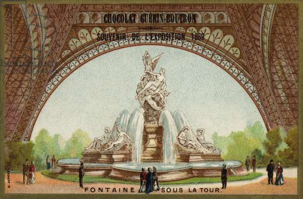 Fountain under the Eiffel Tower (chromolitho)