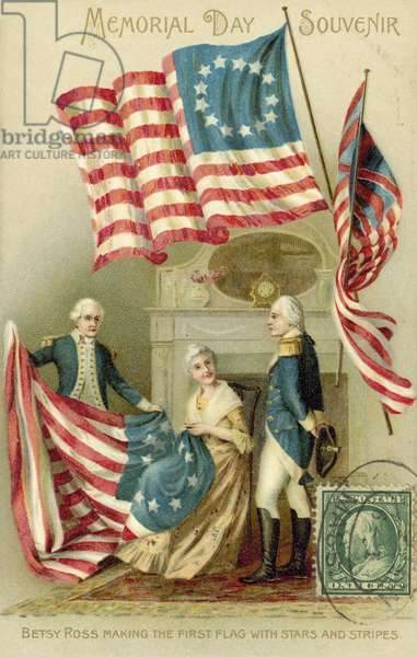 Betsy Ross making the first American flag (colour litho)