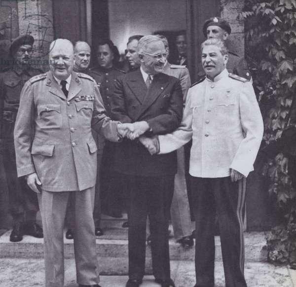 Winston Churchill, Stalin, and President Truman meet in Berlin, July, 1945 (b/w photo)