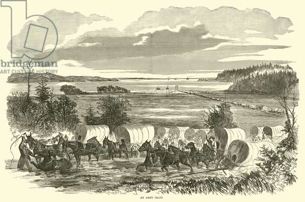 An army train, November 1862 (engraving)