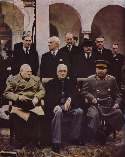Conference of Allied leaders Winston Churchill, Franklin D Roosevelt and Joseph Stalin at Yalta, Crimea; USSR, World War II, 7 February 1945 (photo)
