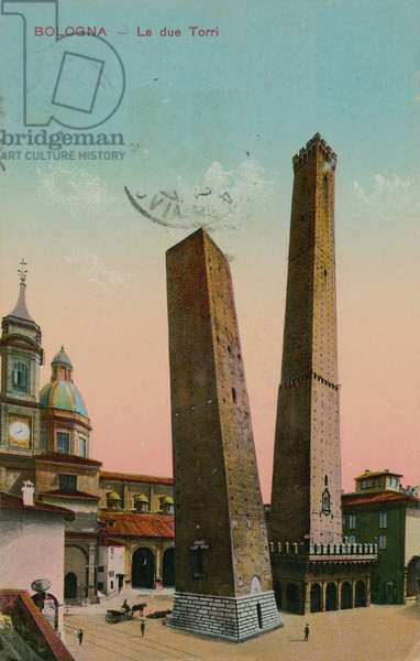 The two towers in Bologna, Italy. Postcard sent in 1913.