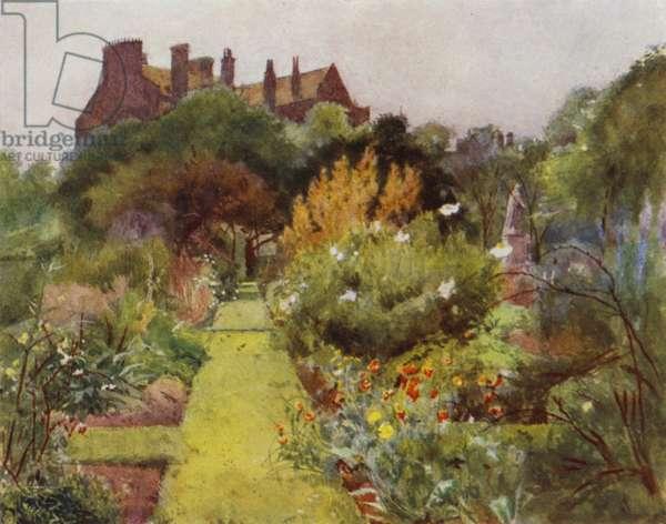 Physicke Garden, Chelsea, View of Garden (colour litho)