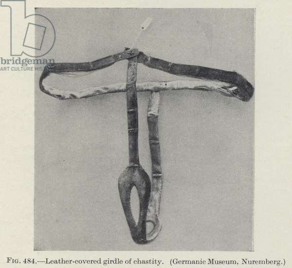 Leather-covered girdle of chastity (b/w photo)