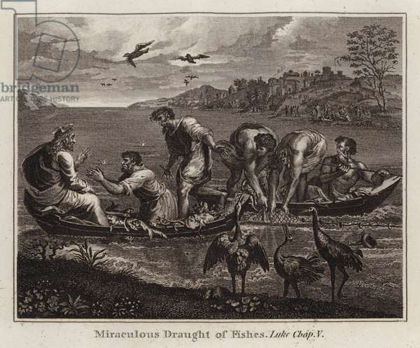 Raphael cartoon: Miraculous Draught of Fishes, Luke, Chap V (engraving)
