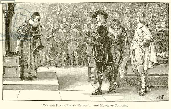 Charles I and Prince Rupert in the House of Commons (engraving)