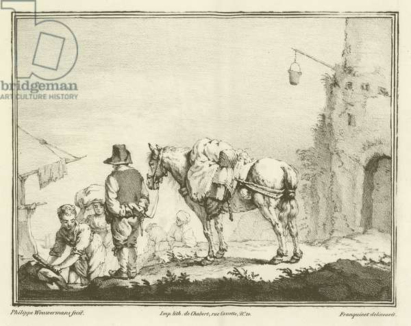 Traveller with a horse (engraving)