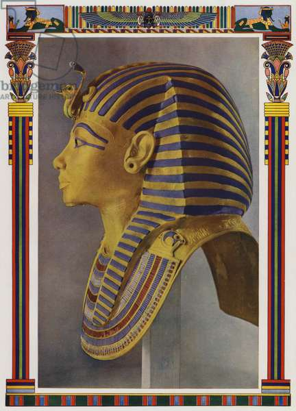Gold portrait mask from the mummy of Tutankhamun, discovered in the Pharaoh's tomb by Howard Carter in 1922 (colour litho)