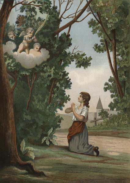 Joan of Arc sees a vision in the forest (chromolitho)