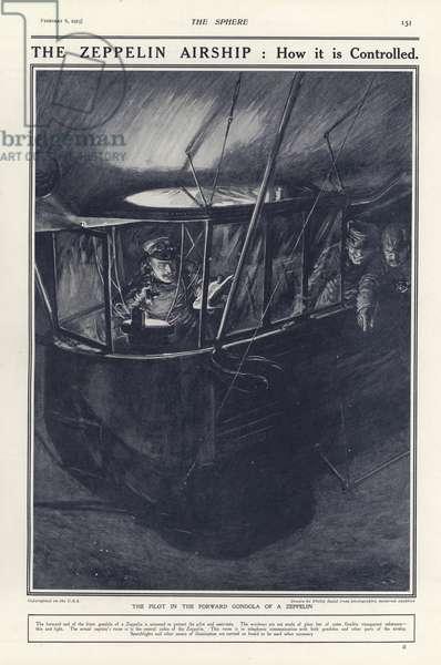 German pilot in the forward gondola of a Zeppelin, World War I (litho)