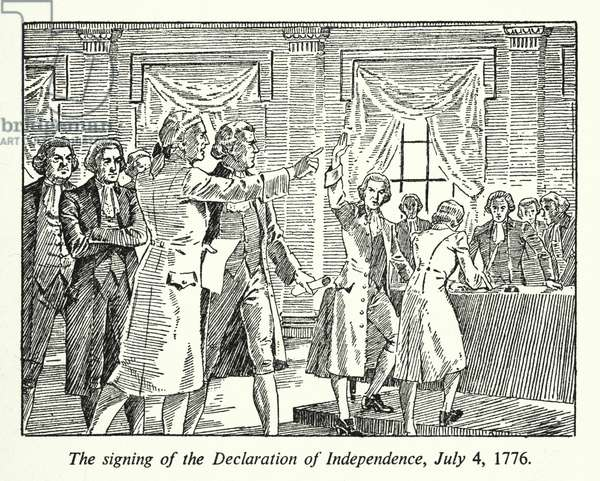The signing of the Declaration of Independence, 4 July 1776 (litho)