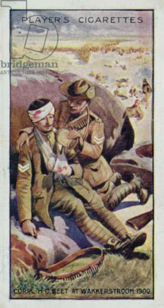 Victoria Cross: Corpl H C Beet, at Wakkerstroom, S Africa, 1900 (colour litho)