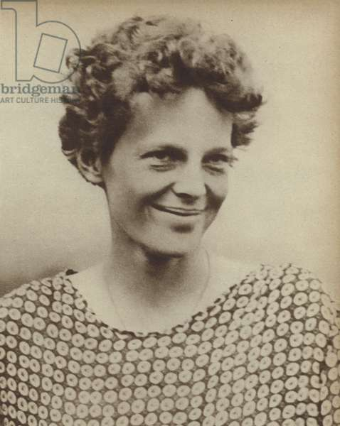 American aviator Amelia Earhart, the first woman to fly across the Atlantic, 1928 (b/w photo)