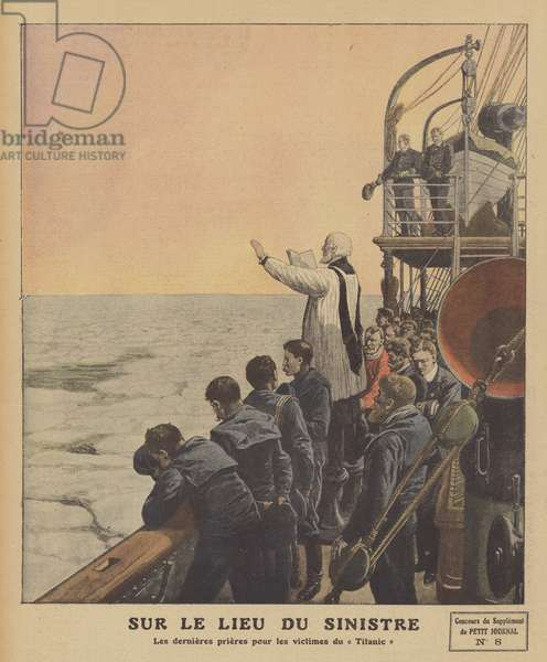 Final prayers for the victims of the sinking of the Titanic (colour litho)
