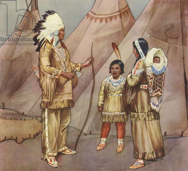 Red Indian family (colour litho)