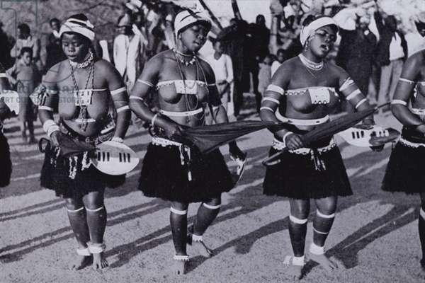 Zulu Women Dancing (b/w photo)
