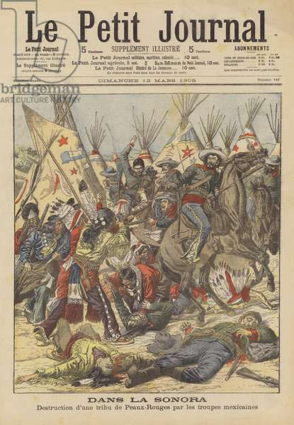 Massacre of a Native American tribe by Mexican troops in the Sonora Desert (colour litho)