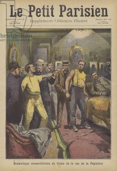 Dramatic reconstruction of a murder on the Rue de la Pepiniere, Paris (colour litho)
