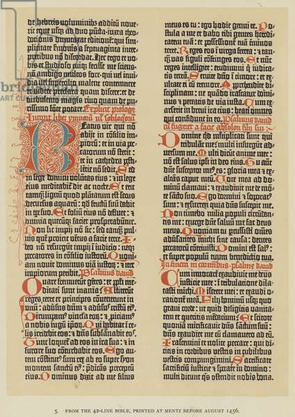 From the 42-Line Bible, printed at Mentz before August 1456 (litho)