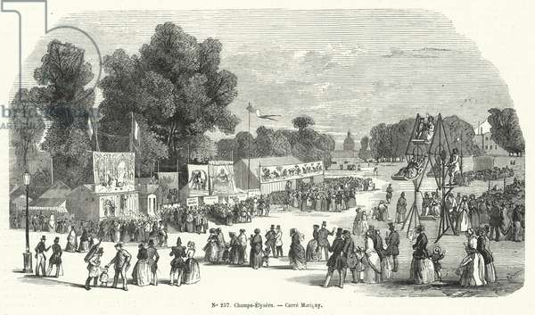 Funfair on the Carre Marigny, Champs Elysees, Paris (engraving)