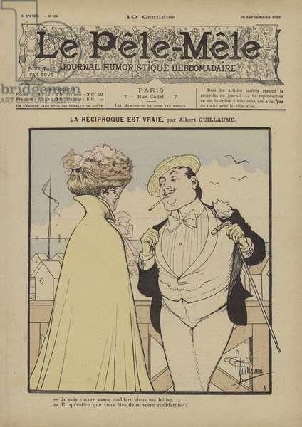 La reciproque est vraie. Illustration for Le Pele-Mele, 1900 (colour litho)